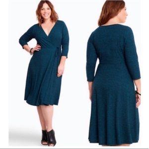 Torrid faux wrap ribbed knit a line dress